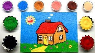 House Sand Painting | House Coloring Page with Colored Sands | How to Make Sand Painting