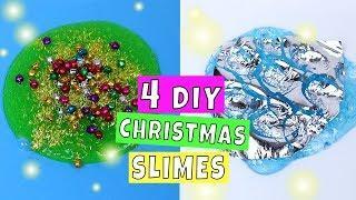 4 AMAZING HOLIDAY SLIMES! DIY How to make slime for Christmas 2018