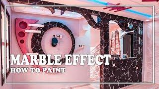 how to paint black marble effect (painting wall)