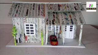 How to make house from newspaper ll DIY ll Newspaper craft ideas ll kids craft