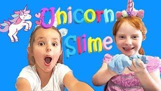 Unicorns Make Rainbow Fluffy Slime