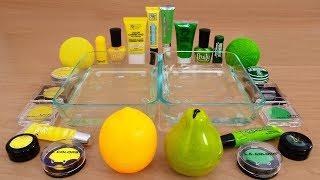 Yellow vs Green - Mixing Makeup Eyeshadow Into Slime! Special Series 80 Satisfying Slime Video