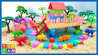 Learn Colors and How To Make Rainbow House On Stilts with Kinetic Sand, Mad Mattr, Slime | ToyFAM
