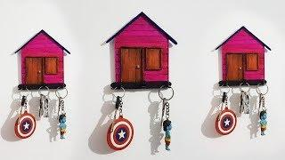 How to Make Key Holder at Home   Popsicle Stick Craft   House Shaped Wall Hanging Key Holder  DIY 