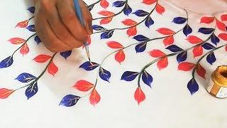 Simple and Beautiful Leaves / Leaf Design | Easy Fabric Painting for Beginners | Designer Kurti