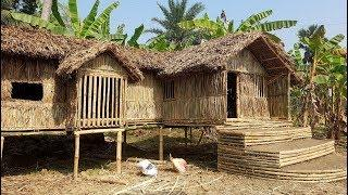 Sugarcane Leaves House Making By Smart Village Boys - Beautiful Rest House In Banana Garden