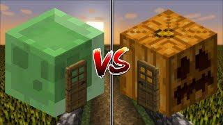 Minecraft SLIME HOUSE VS PUMPKIN HOUSE / MAKE YOUR OWN HOUSE IN MINECRAFT !! Minecraft Mods