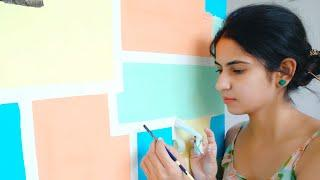 DIY Easy Wall Makeover in 200Rs.| Design Your Old Walls| Easy Wall Paint Free Hand Design by Tulika
