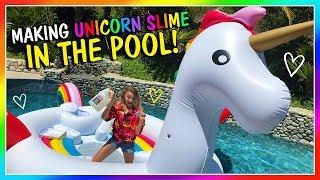 MAKING UNICORN SLIME IN THE POOL CHALLENGE | We Are The Davises