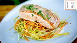 Pan Seared Salmon Beurre Blanc with Veggie Nests