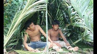 primitive technology - How To Make A House Using Coconut Tree And Bamboo