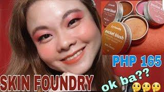 PHP 165 GLAM MAKE UP LOOK || SKIN FOUNDRY POCKET BLUSH SWATCH AND REVIEW