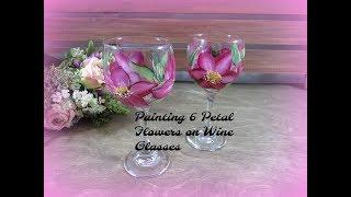 Painting 6 Petal Flowers on Wine Glasses | Painting Wine Glass Painting |Tutorial | Aressa | 2018