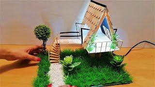 How to Make Popsicle Stick house with Led lights