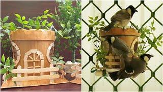 How to make a Bird House or Bird Nest from waste yogurt container || Most beautiful Bird House DIY