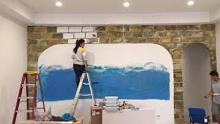 #49.How to paint wall mural step by step. How to Paint realistic brick .