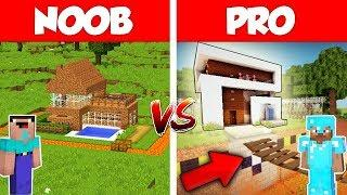 Minecraft NOOB vs PRO: SAFEST MODERN HOUSE BUILD CHALLENGE in Minecraft / Animation