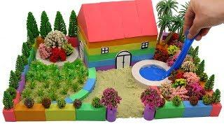 DIY How To Make Garden House Villa with Kinetic Sand, Mad Mattr, Slime
