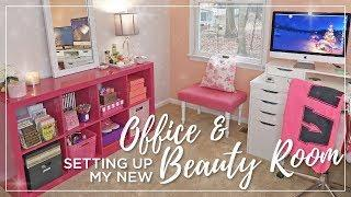 Ikea Beauty Room & Office Set Up | Decorating, organizing, painting | Office & Makeup Room Makeover