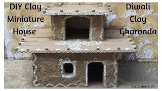 DIY Diwali Clay Gharonda | How to Make Miniature Clay House