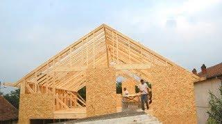 Extreme Fast Wooden House Build Skills - Amazing Project Log House Building Process