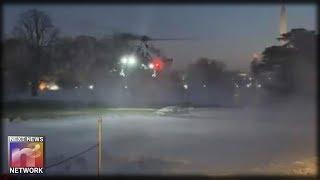 HAH! Snowflakes Get Sprayed: White House Marine One Helicopter Buries Press Corps in Cloud of Snow