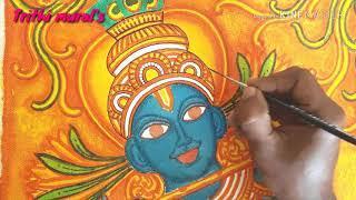 Mural painting tutorial... 'Krishna' acrilic canvas work