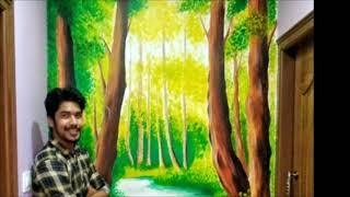 ART WORK on WALL | Aryan Painting | Nature Painting on Wall