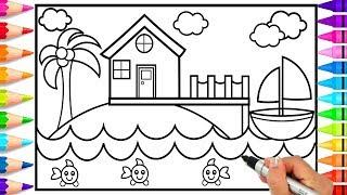 How to Draw House on the Beach | Beach House Coloring Page | Learn to Draw a Beach House for Kids