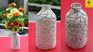 How to make flower vase with glass bottle || glass bottle flower vase making || LifeStyle Designs