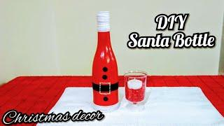How to make santa wine bottle christmas decoration 2019 | Holiday craft | christmas decor ideas