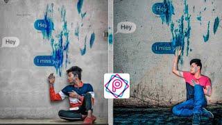 Picsart painting wall chatting Photo editing | Instagram Viral Editing