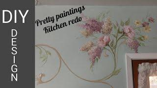 Painting designs on walls ~ Kitchen paint makeover ~ not stencils