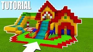"Minecraft Tutorial: How To Make A Fun House Mansion ""Bouncy House with a Water Slide"""