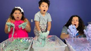 MAKING 3 GALLONS OF FLUFFY BIRTHDAY SLIME WITH OUR BROTHER JUNIOR