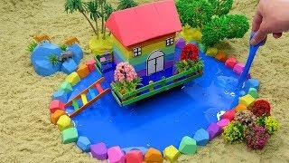 Learn Colors and How To Make Rainbow House On Stilts with Kinetic Sand, Mad Mattr, Slime