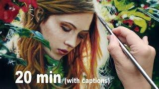 PAINTING PORTRAIT DEMO ✦ REALISTIC ART VIDEO - redhead girl / red hair beauty by Isabelle Richard
