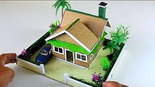 How to make a Very Easy Cardboard House with Garden #62   Backyard Crafts