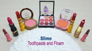 How to make Slime with Toothpaste and Floam|Mixing eyeshadow and Lipsticks into Slime|Alex Slime !