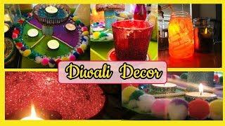 Diwali Decoration Ideas - DIY Diwali Decor II How to decorate house in Diwali II DIY Glitter Candle