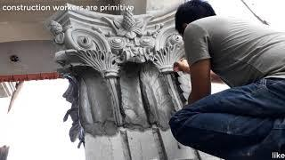 How to cut, draw, make a reliefs, wall concrete House  Building Beautiful