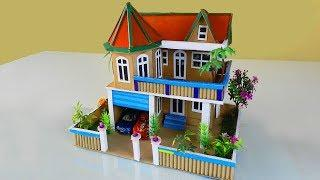 How To Make a Beautiful Mansion House from Cardboard - REAL Working Dollhouse