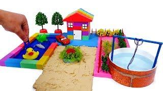 Johny Johny Yes Papa | DIY How To Make Garden House w Fish Pond with Kinetic Sand Fun toys For Kids