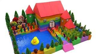 DIY How To Make Garden House, Pool with Kinetic Sand, Mad Mattr, Slime, Wooden Sticks