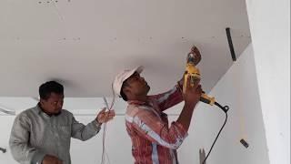 Gypsum board ceiling installation |  plaster ceiling room