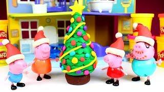 DIY Play Doh Christmas Tree for Peppa Pig | How to Make X-mas Tree & Peppa Pig Surprise Toys Opening