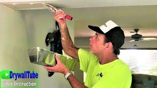 How to easily fix damaged drywall by skim coating- Diy drywall tips