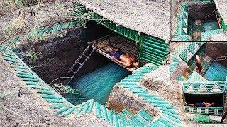 Build underground bamboo house , underground bamboo pool