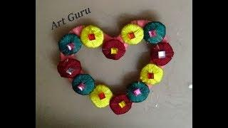 Simple and easy wall decoration heart flower craft