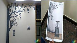 Wall painting ???? tree design Asian paints